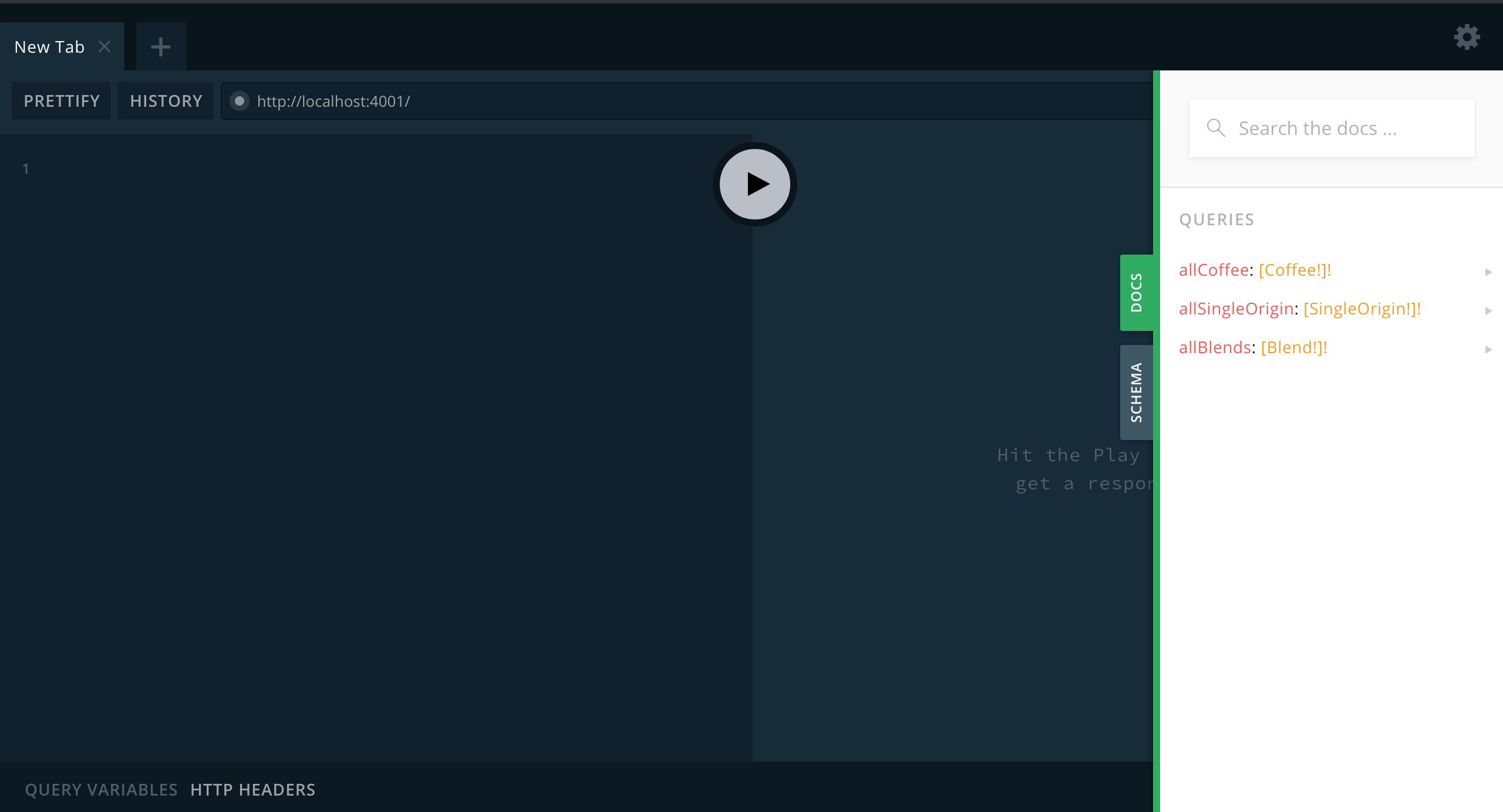 GraphQL Playground DOCS tab.