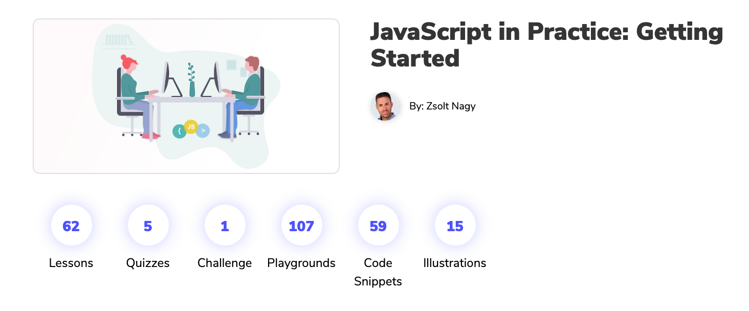Screenshot from Educative landing page for JavaScript course