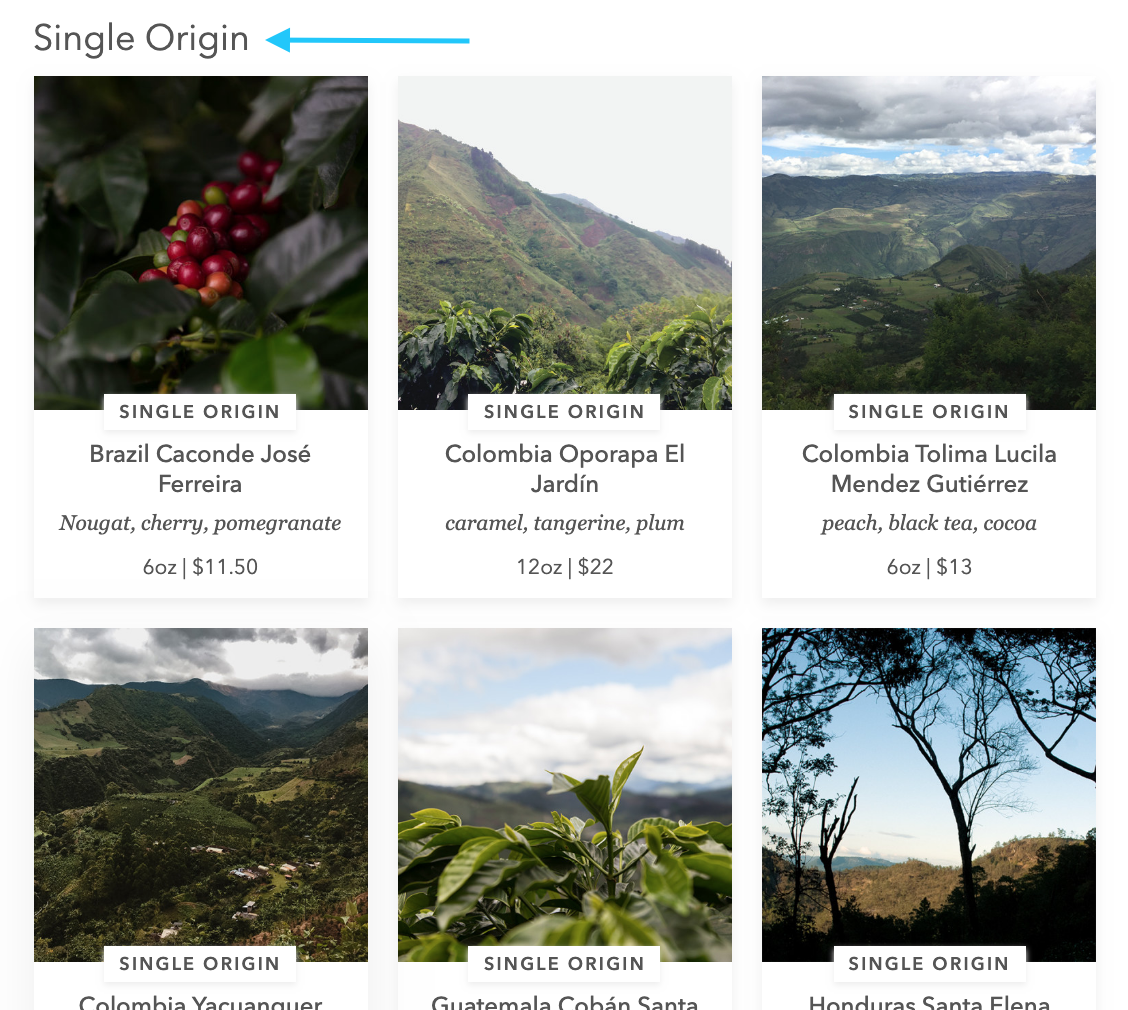 single origin section on bluebottlecoffee.com