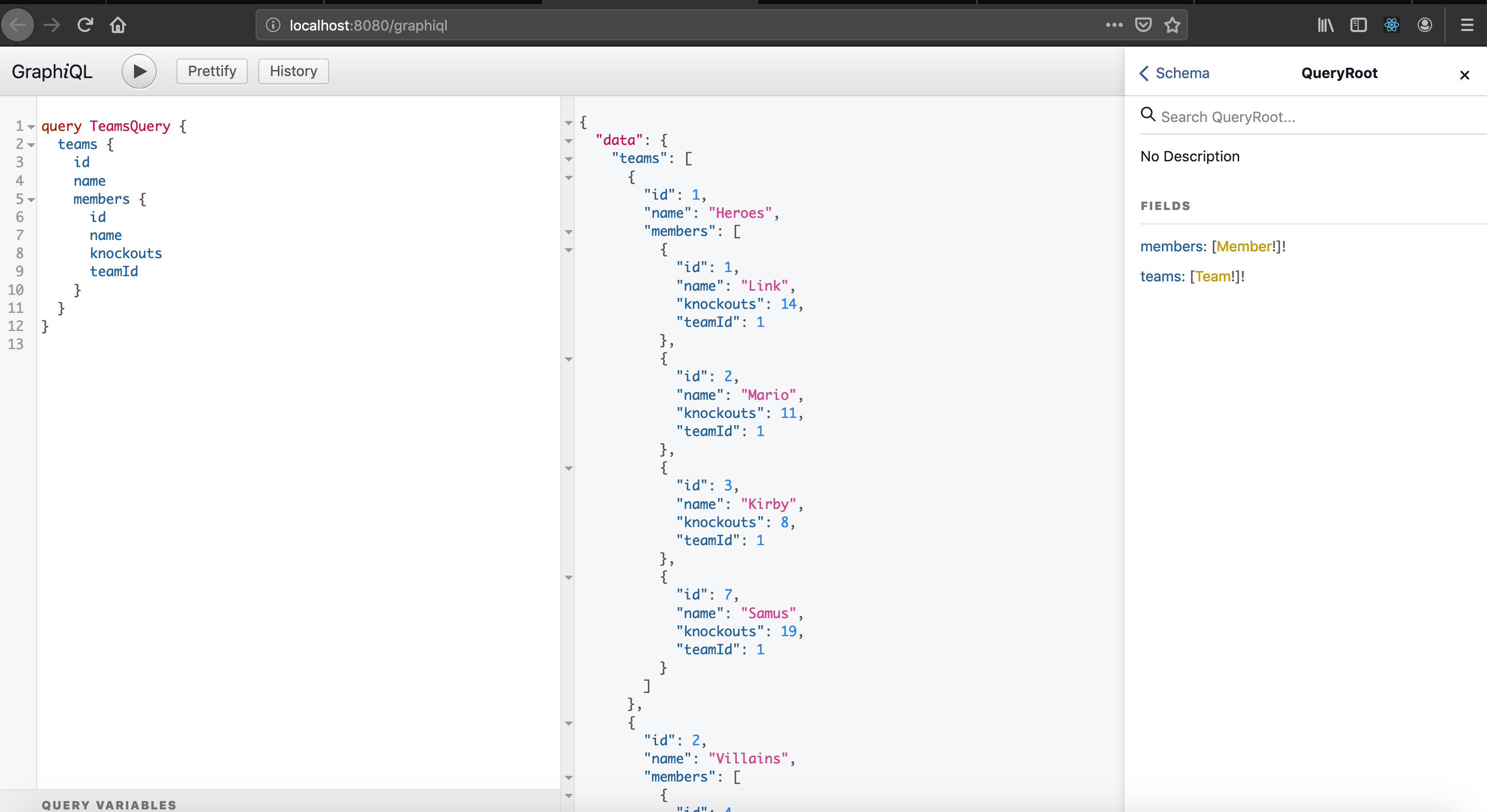 More complex query in graphiql