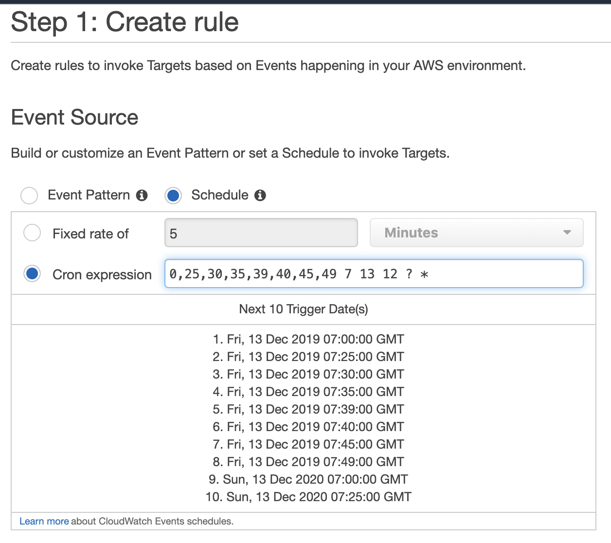 AWS Console. CloudWatch Events Rules to show when cron expression will run