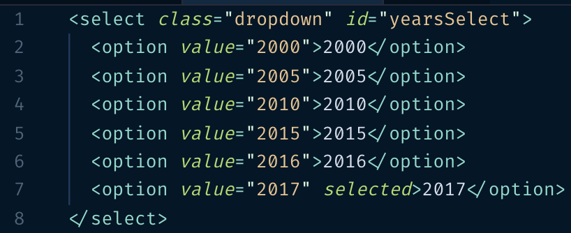 A year dropdown with hard-coded options.