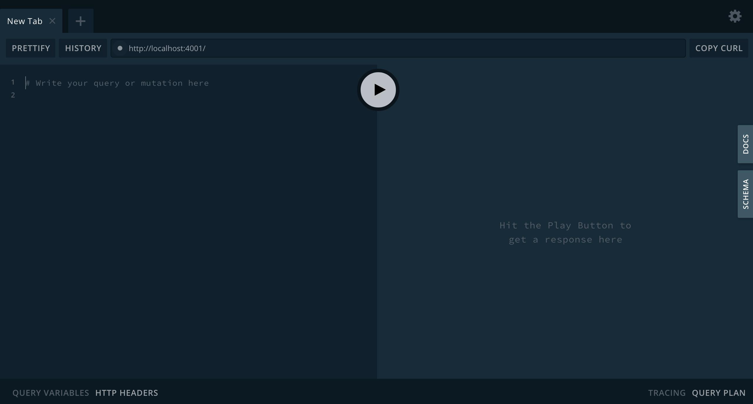 GraphQL Playground graphical user interface.