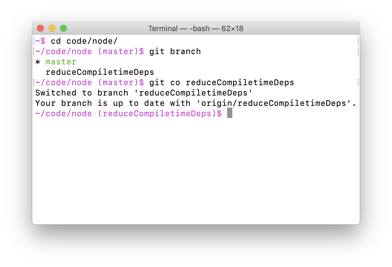 Terminal where the prompt shows the current directory and git branch