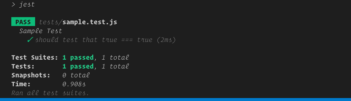 Sample test output