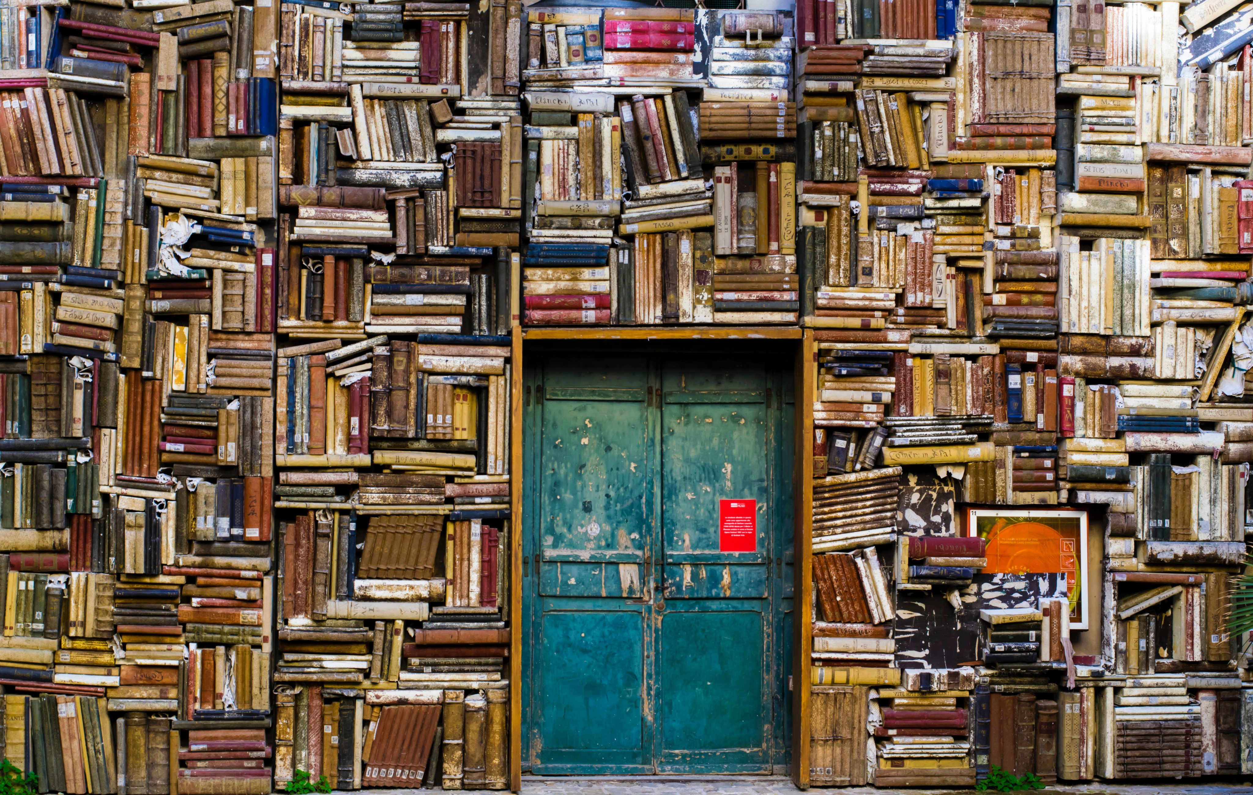 A blue set of double doors on a large wall of aged books.