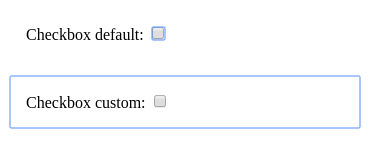 A side by side image showing how the default focus looks vs the presented strategy on checkboxes.