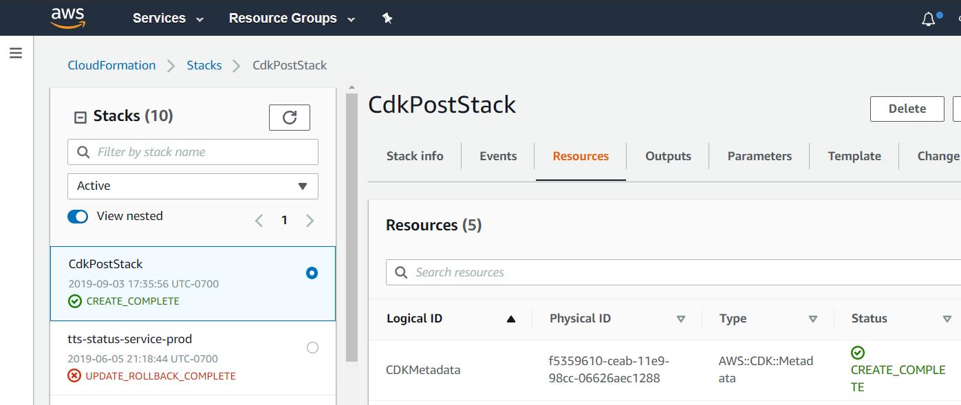 CloudFormation Stack via CDK