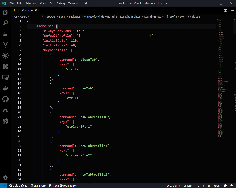 The JSON file for editing Windows Terminal settings edited using Visual Studio Code.