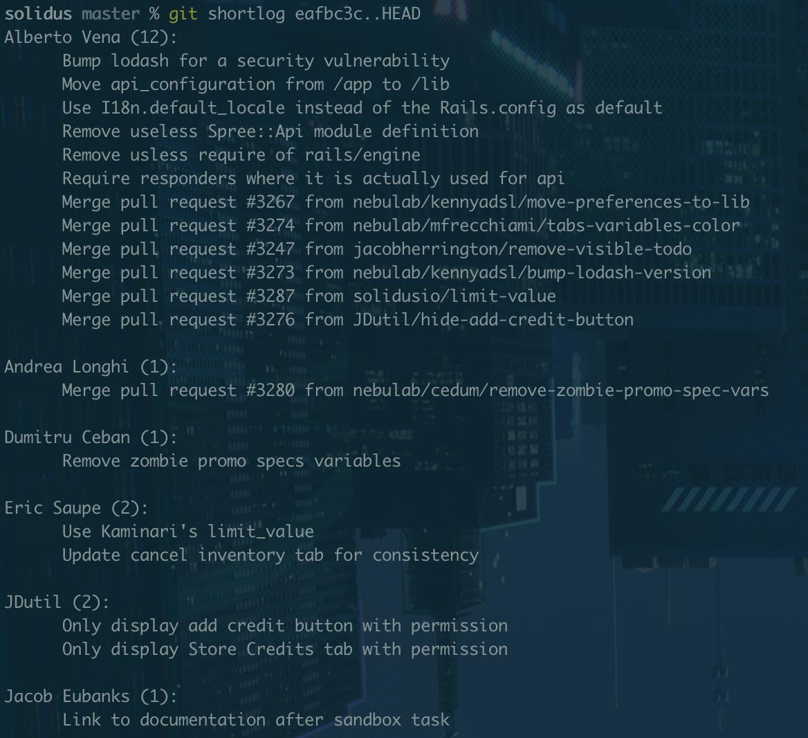 A screenshot of git shortlog's output