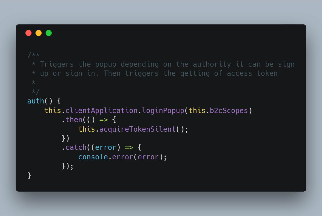 This is the main method as it triggers the login or sign up popup and then triggers the other methods needed to get the users access token.