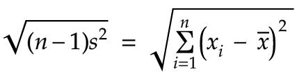 sqrt of variance times n-1