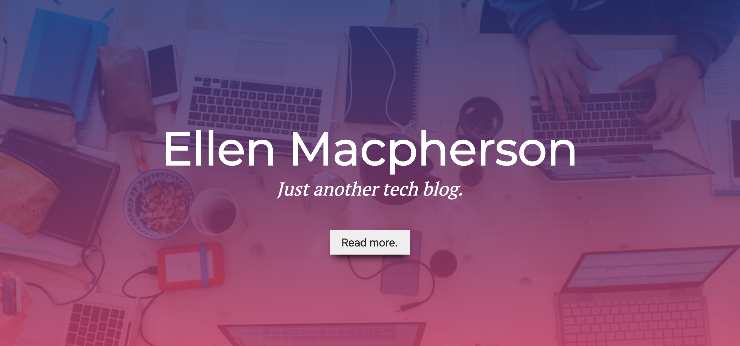 Header with pink and purple gradient overlay