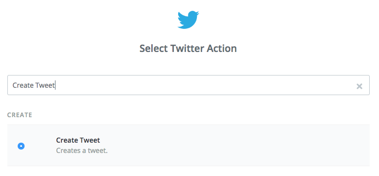 Screenshot from Zapier showing we have selected the Create tweet action