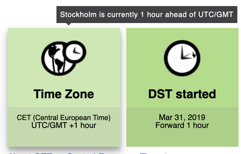 Stockholm's timezone