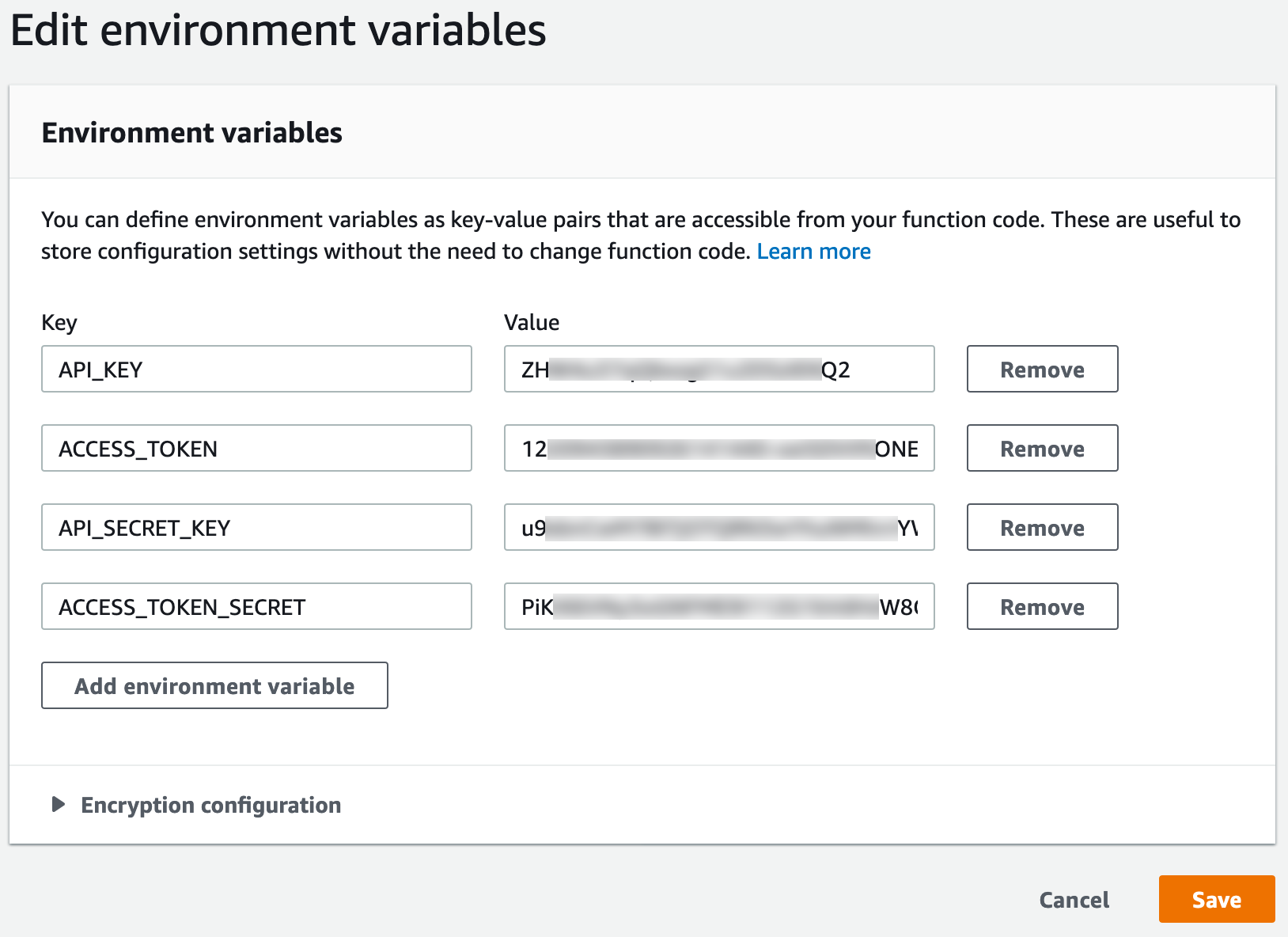 Our environment variables