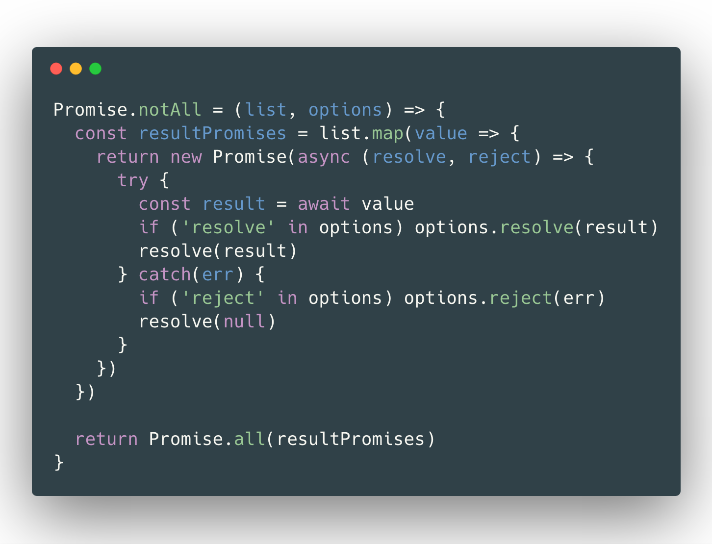 Promise.notAll Code