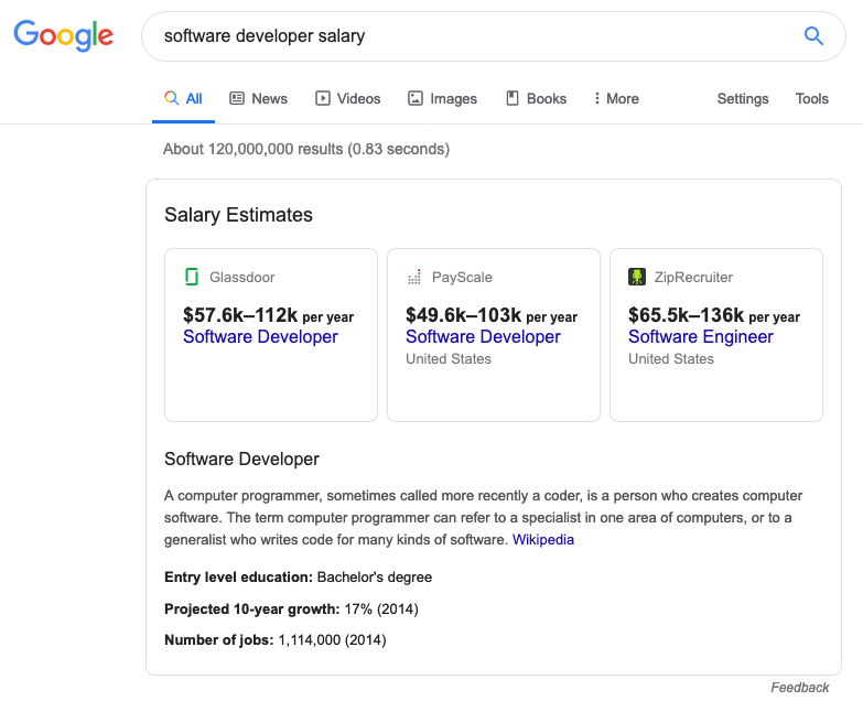 A screenshot showing lower average salaries for the title software developer