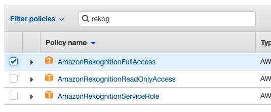 AmazonRekognitionFUllAccess