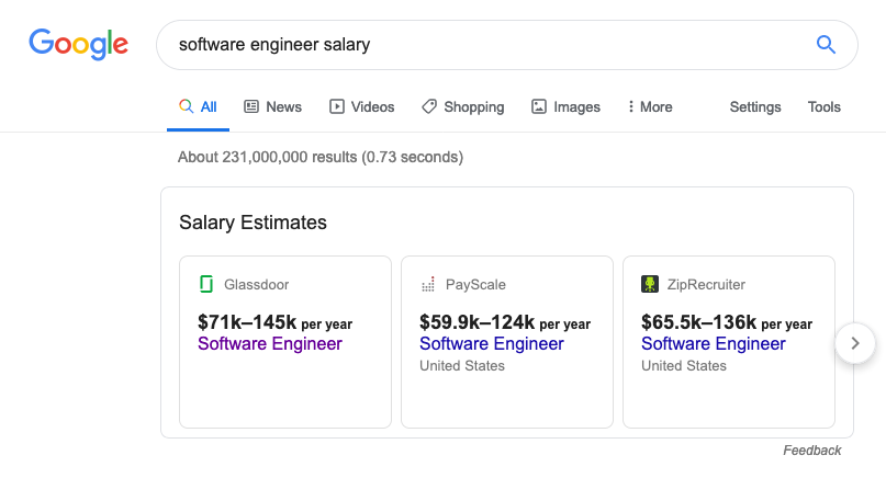 A screenshot showing higher average salaries for the title software engineer