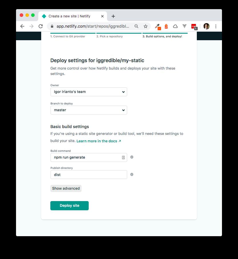 Netlify Build Settings