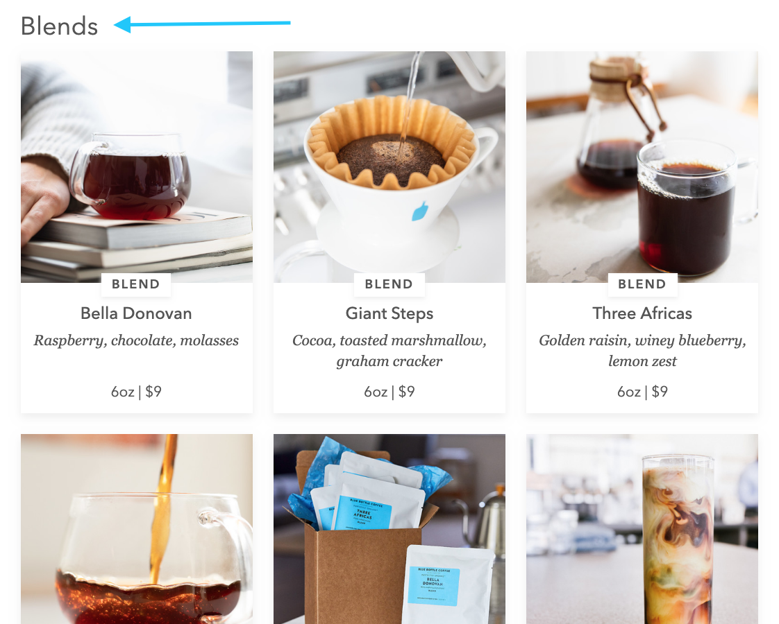blend coffee section on bluebottlecoffee.com