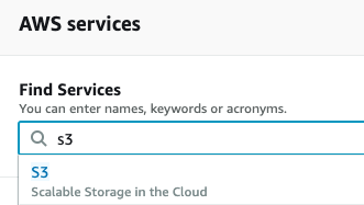 Find AWS services