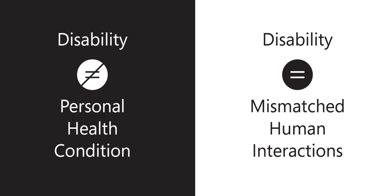 Disibility is not a personal health condition. Disibility is mismatched human interactions