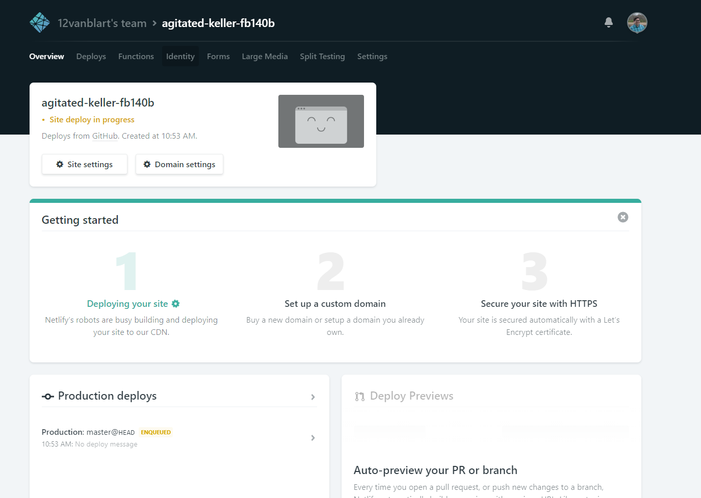 Netlify Dashboard with yellow indicators that the site is in the process of being deployed.