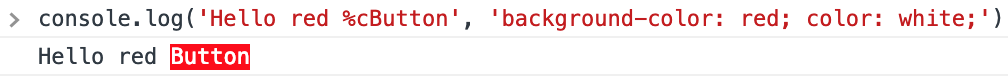 console.log() %c placeholder in action