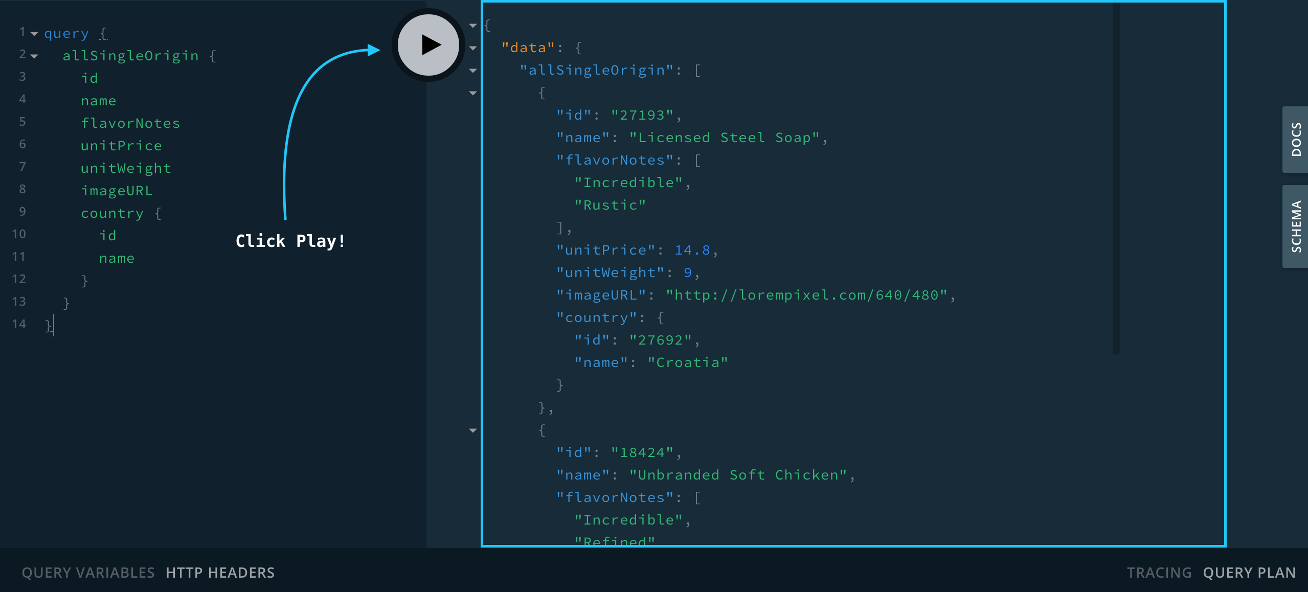 our first GraphQL query in the playground.