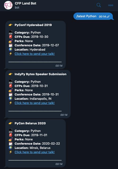 Screenshot of the CFP Land Bot