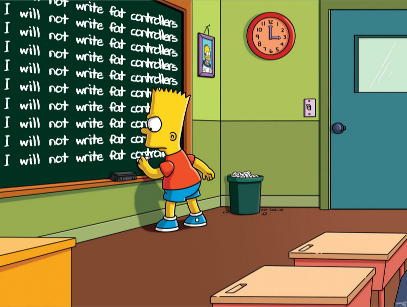 "Bart Simpson writing ""I will not write fat controllers"" on a chalkboard"