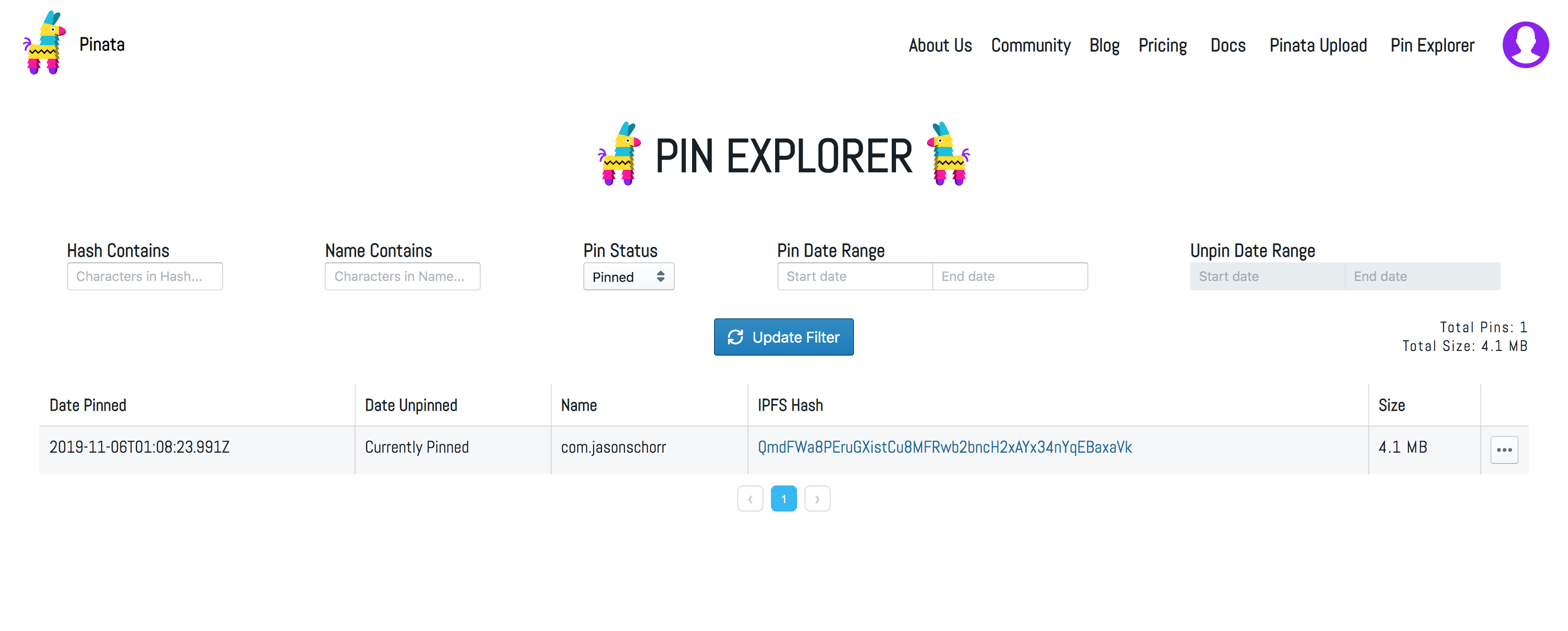 pinata.cloud pins interface