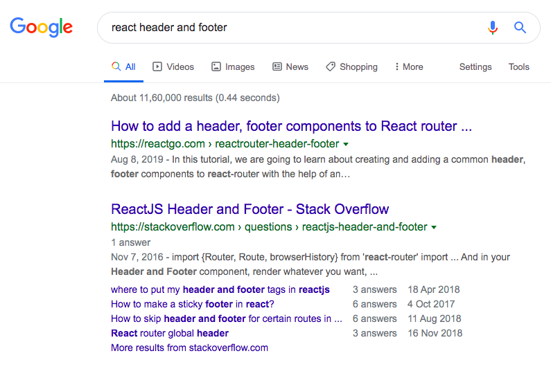 reactgo.com react header footer post