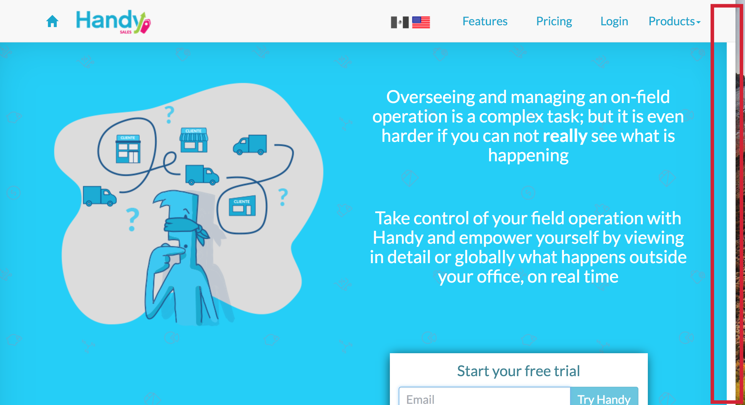 Landing page with extra white space on right side