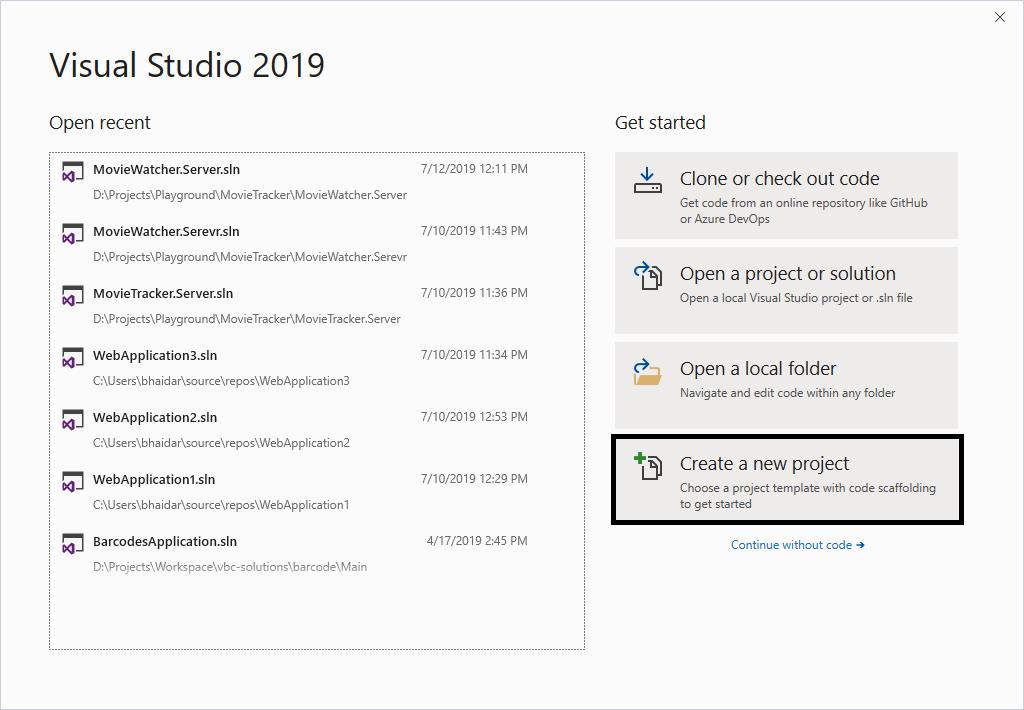 Visual Studio 2019 - Create Project