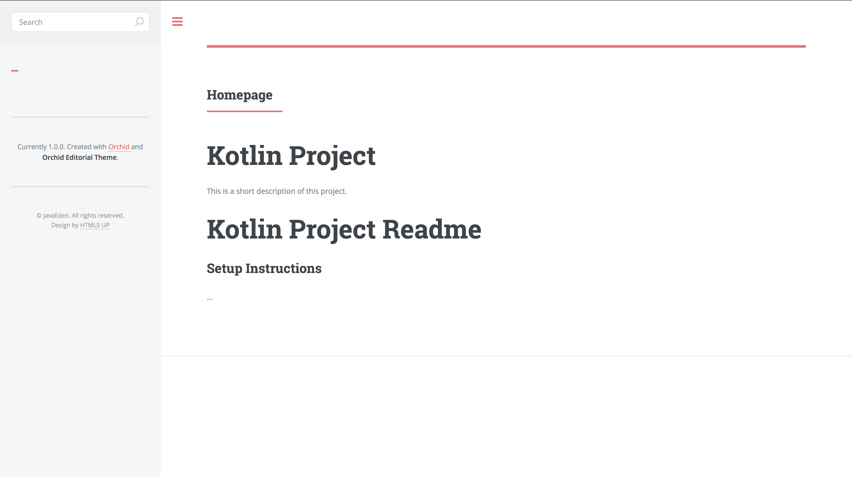 Homepage with Readme contents