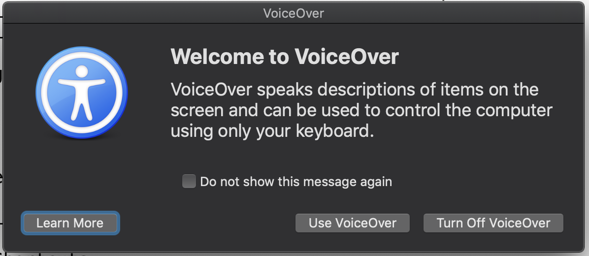 VoiceOver welcome screen