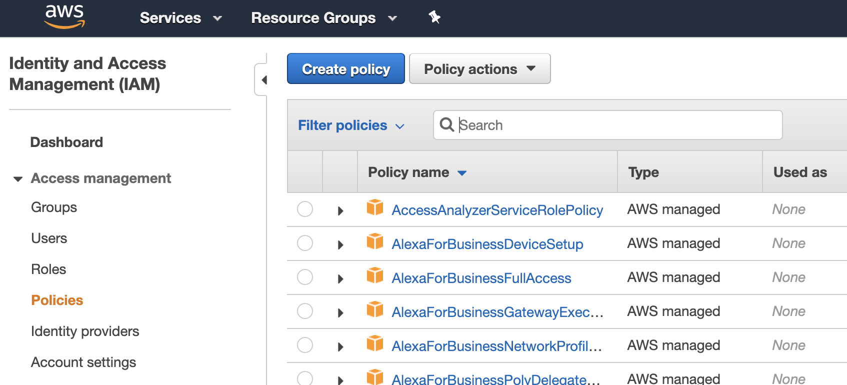 AWS IAM managed policies