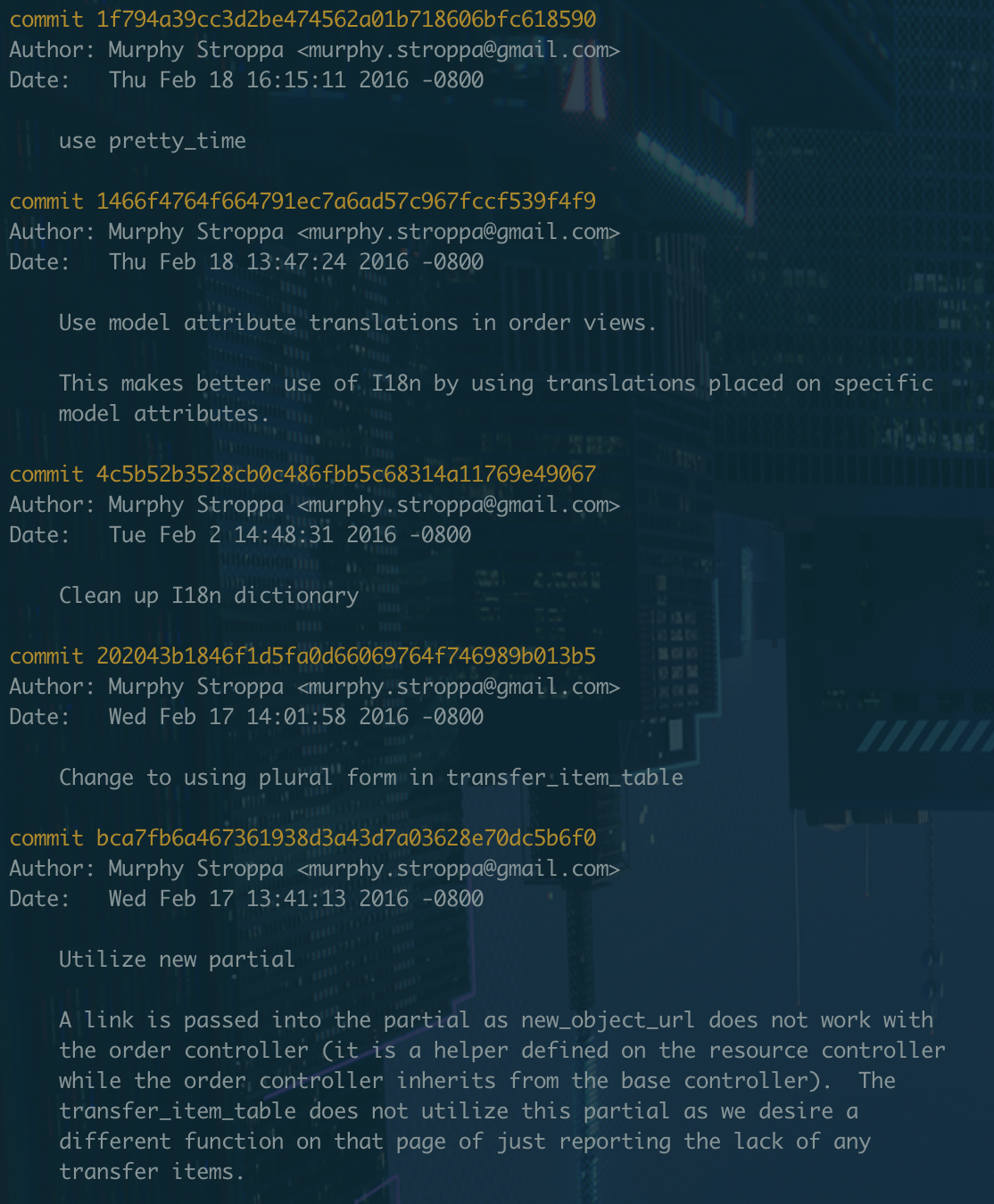 A screenshot of the Solidus git log between Febrary 10th, 2016 and February 19th, 2016