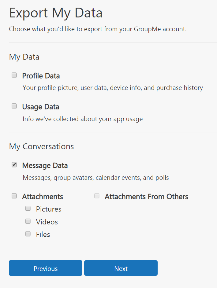GroupMe Data Selection