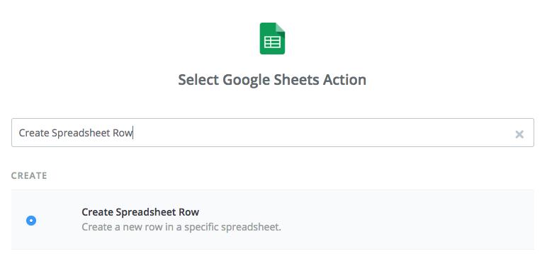 Screenshot from Zapier showing choosing action Create Spreadsheet Row