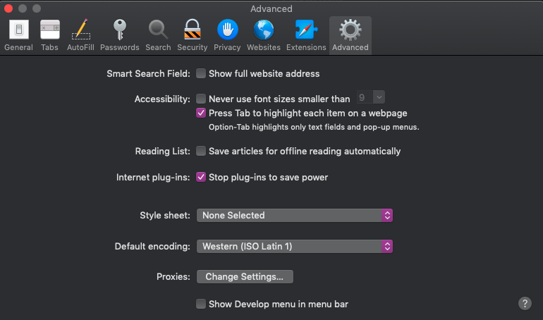 "Safari's Preferences window with ""press tab to highlight each item on a webpage checked"""