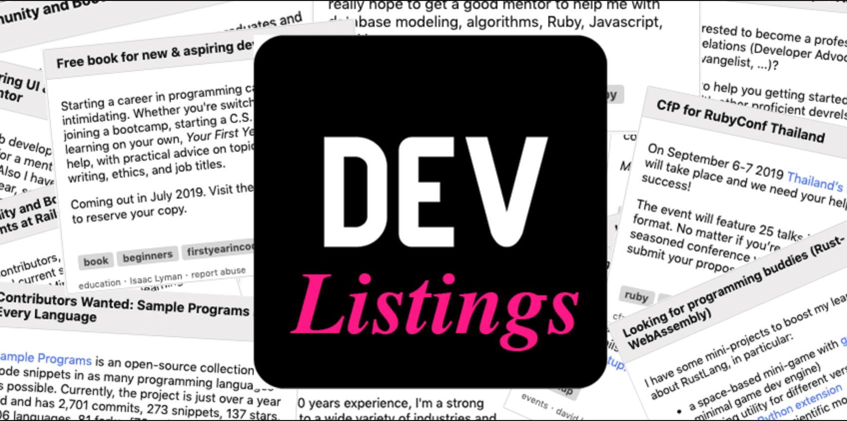 Listings - DEV Community 👩 💻👨 💻