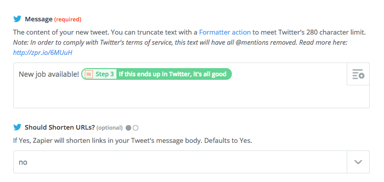 Screenshot from Zapier showing how to use templates to build a tweet
