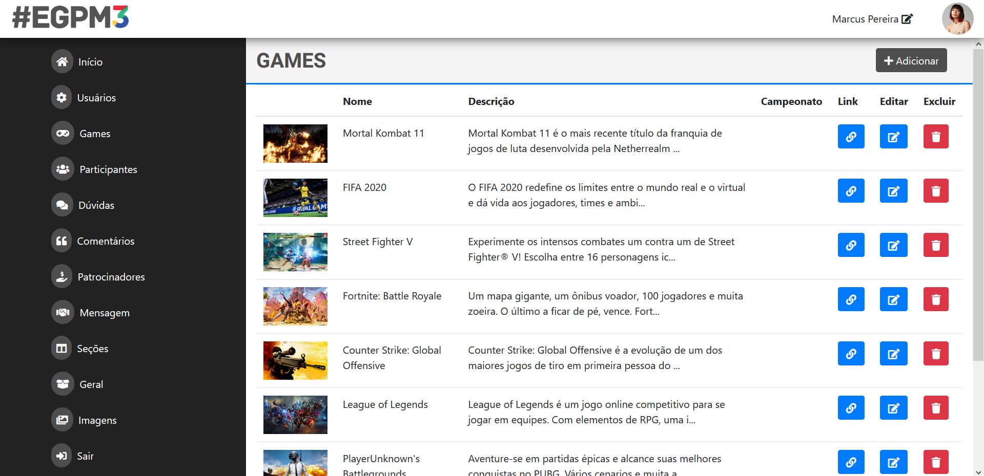 Uma captura de tela do painel do CMS.