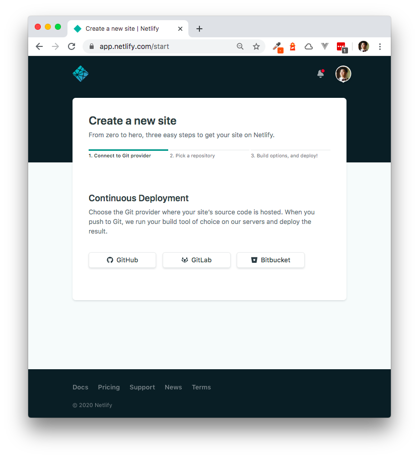 Netlify Create a New Site page
