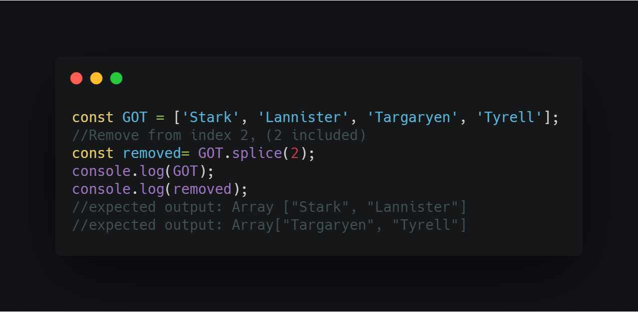 Remove elements from an array