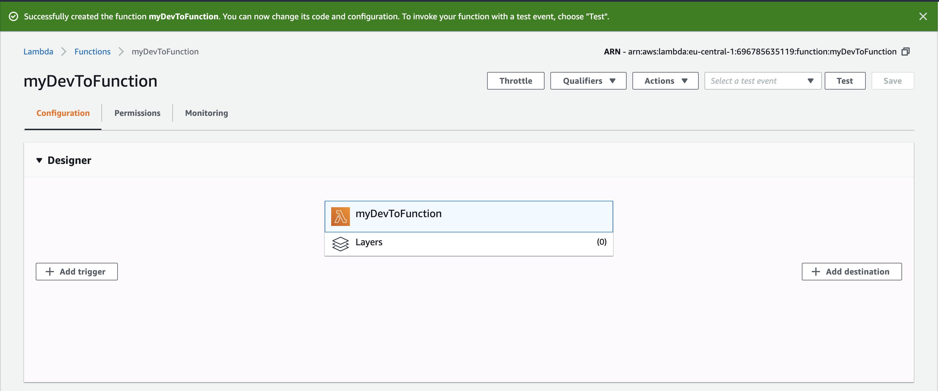 AWS Lambda function designer